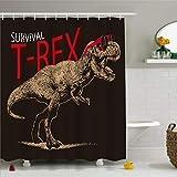 MOUMOUHOME Wasserdichtes Gewebe Bad Duschvorhang Sets für Männer,Tyrannosaurus Rex mit Roten Gläsern 3D Druck Badezimmer Dekoration Schwarz,12 Haken,180x180cm