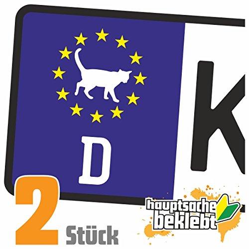 Schwarze Katze - Unglück Kennzeichen Aufkleber Sticker Nummernschild - IN 15 FARBEN