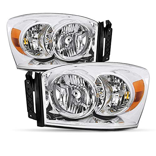 Headlight Assembly Set Replacement for 2006-2008 Dodge Ram 1500 & 2006-2009 Dodge Ram 2500 / 3500 Pickup Chrome Headlamp Driver and Passenger Side Front Lights Pair (Chrome & Amber Reflector)
