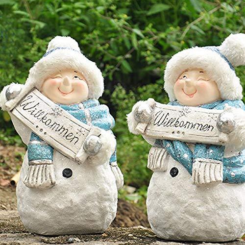 DLSMB Tuinbeeld Witte Ornamenten Kerstmis FRP Sneeuwman Thuis Tuin Binnenplaats Raam Grote Decoratie Met Welkomstkaart 1 Paar 22x38cm voor Yard Gazon Decoratie