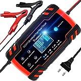 NWOUIIAY Cargador Batería Coche Moto Carga Inteligente 12V/24V 8A con LCD Pantalla Digital para Baterías de AGM Gel SLA Wet Calcio Rojo&Negro