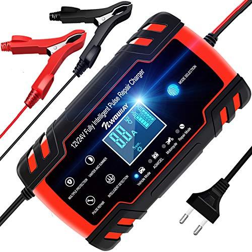 NWOUIIAY Cargador Batería Coche Moto Carga Inteligente 12V/24V 8A con LCD Pantalla Digital para Baterías de AGM Gel SLA Wet Calcio en Coche Moto Cortacésped Barco
