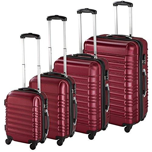 TecTake Set di 4 valigie ABS Rigido Trolley Valigia Bagaglio a Mano Borsa Elegante - Disponibile in Diversi Colori - (Rosso Vino | No. 402026)