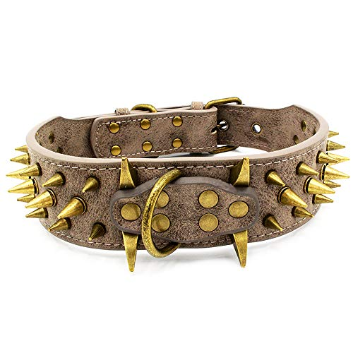 Stylish Leather Sharp Spiked Studded Dog Collar (Grey L)- Fit Medium & Large Dogs