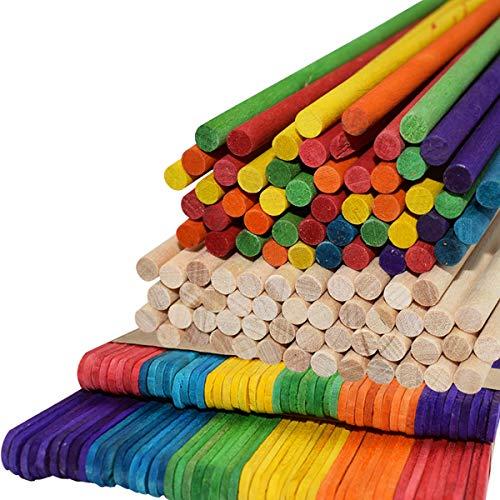 Bâtonnets de Sucettes,ZUZER 200pcs Bâtons en Bois Batonnets Sucette Batonnets Bois Multi Couleur Baton de Glace en Bois pour Les Projets Créatifs de Bricolage
