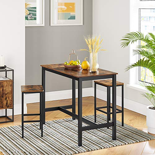 VASAGLE Bartisch-Set, Stehtisch mit 2 Barhockern, Küchentresen mit Barstühlen, Küchentisch und Küchenstühle im Industrie-Design, für Küche, 120 x 60 x 90 cm, vintagebraun-schwarz LBT15X - 3