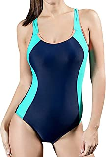 Womens Swimsuit One Piece Boyleg Swimming Competitive Swimwear Sports Costume Soft and Comfortable Without Irritation (Color : Blue Green, Size : 18)