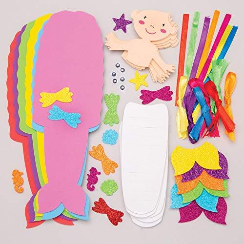 """Baker Ross Flecht-Bastelsets """"Meerjungfrau in Regenbogenfarben"""" (6 Stück) – Bänder und Schablonen für Kinder zum Gestalten"""