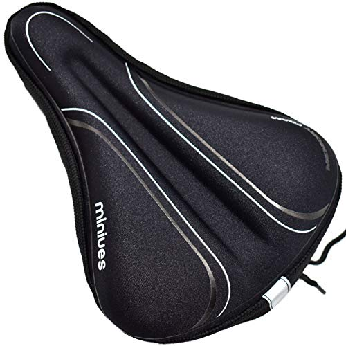 Bike Seat Cover Memory Foam Cushion for Women Men,Comfortable and Soft Bicycle Saddle Cover Suitable for Mountain Bike Seat and Exercise Bike Seat Cushion or Spin Bike Accessories Indoor Cycling Bike
