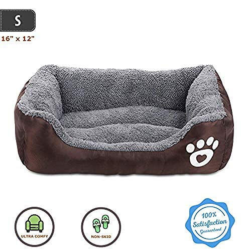 N/ Cama para Perros Sofá para Mascotas Súper Suave Cama para Gatos Tumbona Antideslizante para Mascotas Cama para Mascotas Autocalentable Y Transpirable Ropa De Cama Premium-Pequeño: 16