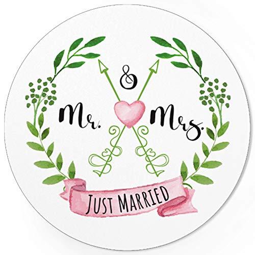 48 Design Etiketten, rund/Mr. and Mrs. / Just Married/Hochzeit/Liebe/Heirat/Aufkleber/Sticker/für Einladungen/Feiern