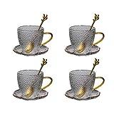 Espresso Cup Set Prima de cristal clásica taza manera hecha a mano la taza de café, taza de la leche, Taza de té con los platillos y cucharas de oro de 5,4 oz Espresso Copas, juego de 4 tazas de espre