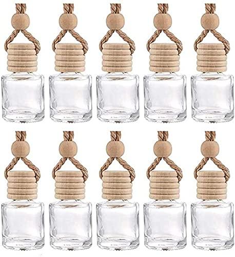 Notens - Lote de 10 mini colgantes de botellas de perfume de cristal, difusor de perfume para coche, botella de perfume recargable, refrescante de AI
