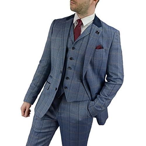 Cavani Connall Men 3 Piece Tweed Check Suit, Blue, Brown & Navy