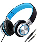Headphones,BienSound HW50C Stereo Folding Headsets Strong Low Bass Headphones with Microphone for iPhone, All Android Smartphones, PC, Laptop, Mp3/mp4, Tablet Macbook Earphones (Black&Blue)