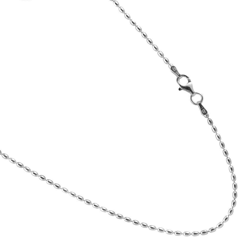 JOSCO Rice Bead Sterling Silver Chain. 1.75 by 3mm Italian Neckl