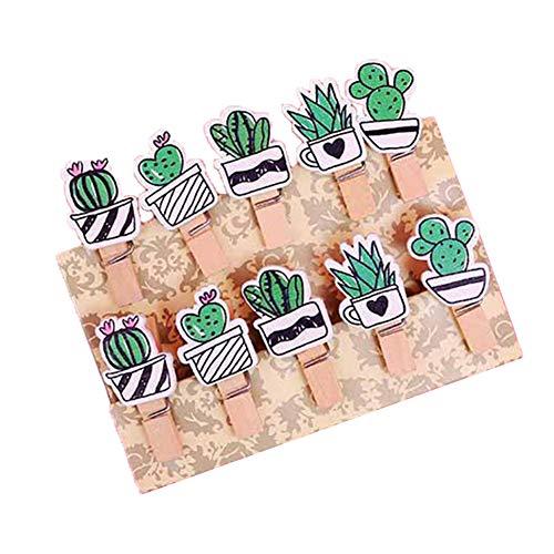 Gespout 10 Stück Holzklammern Comic Fußball Kaktus Haustier Muster Adventskalender Holzklammern Mini Zierklammern für Foto Bilder Kinder Geburtstag DIY Dekorationen Size 3.5cm*0.7cm