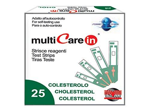 mejores Tiras de colesterol Gima - Tiras de prueba para determinar el nivel de colesterol para el dispositivo MultiCare In - Pack de 25 tiras