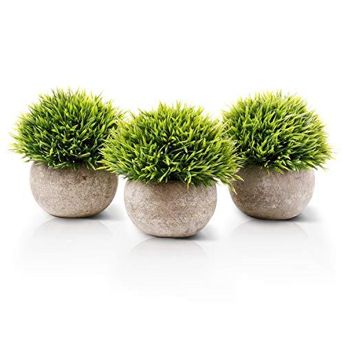 Aibesser Künstliche Topfpflanze, Künstliche Grün Gras Pflanzen mit Topf, 3er-Set Plastik Klein Dekorative Pflanzen Bonsai, Ideal für Büro Garten Balkon Deko Tischdeko und Outdoor Dekoration, Geschenk