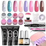 Gel Polish Kit Poly Nail Gel Kit with 6W Led Lamp, 8 Fall Winter Colors Gel Polish Set , 3 Poly Nail Gel, Manicure Tools, Striping Tape Lines, Nail Art Rhinestone, All-In-One Salon Kit In Gift Box