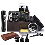 Beard Care Kit, Grooming & Trimming Gift Set for Men Includes - Beard Oil, Beard Balm, Horsehair Brush, Wooden Comb, Facial, Nose & Ear Trimmer, Beard & Mustache Scissors