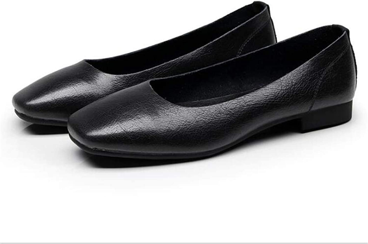 Flyingdogs Comfort Round Toe Leather Ballerina Foldable Ballet Flats Portable Travel Flats Loafer shoes