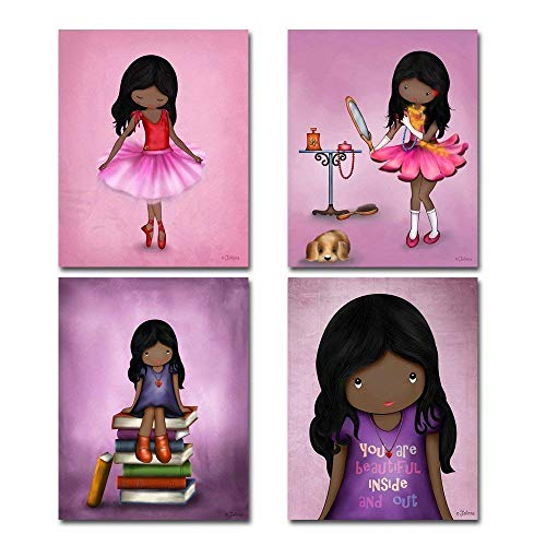 Set of 4 Art Prints for Girls Room African American Artwork Pink Purple Wall Art Posters for Child's Bedroom or Nursery 8x10 Dark skin Black Hair Girl
