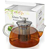 Glass Teapot & Kettle - Tea Pot Strainer and Infuser for Loose Leaf & Blooming & Flowering & Iced &...