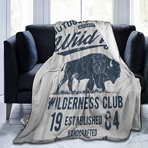 SURERUIM Manta De Tiro De Lana Suave,Sello Bison Buffalo Wild Vintage Life West Adventure Hunting,Home Hotel Sofá Cama Sofá Mantas para Parejas Niños Adultos,75x125cm