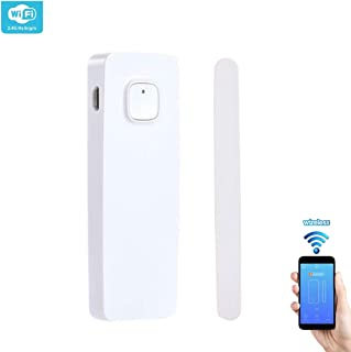 WiFi Smart Door Window Sensor Phone APP Control, Compatible with Alexa Google Assistant, for Home,Office or Store, Rechargeable No hub Required (Built-in Lithium Battery Rechargeable)