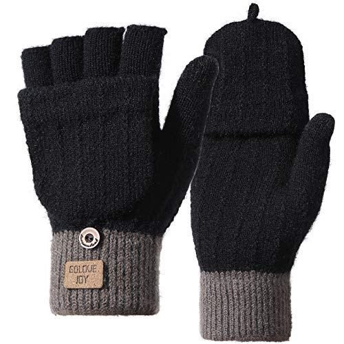 Homealexa Winterhandschuhe Touchscreen Handschuhe Strick Fingerhandschuhe Sport Warm und Winddicht Winterhandschuhe für Skifahren Radfahren und SMS, Geeinget für Damen und Herren (Fingerlos(schwarz))