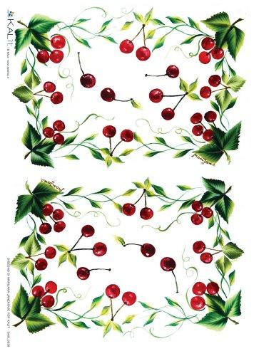Accademia del Decoupage 32 x 45 cm carta di riso, ciliegie