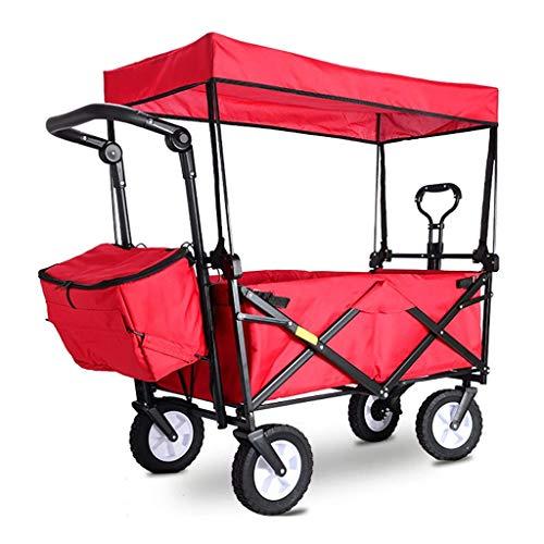 GQQ Aufbewahrungswagen Klappbarer Gartenwagen Mit Baldachin Hochleistungswagen Tragbarer Multifunktions-Einkaufswagen Für Camping Im Freien Angeln Handziehwagen Mit 4 Rädern, Last: 80 Kg,Rot