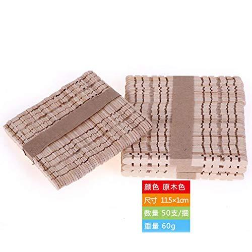 Coner 50 stks houten ambachtelijke ijs sticks popsicle sticks natuurlijke hout cake tools diy handwerk art ambachten speelgoed ijs schimmel, 11.5x1 cm