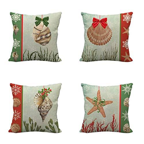 Nunubee - Juego De 4 Fundas De Almohada Decorativas con Temas De Pájaros Navideños, Fundas De Almohada para Sofá Y Decoración De Oficina (Color De La Imagen, 45 X 45 Cm)