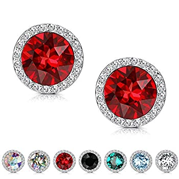 Kesaplan Crystals Stud Earrings for Women Made of Austria Crystals Round-Cut Halo Austria Crystals Earrings Set with Sterling Silver Post Hypoallergenic Jewelry