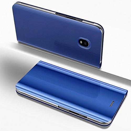 Ysimee Coque Samsung Galaxy J3 2017, Étui Folio à Rabat Clear View Case Couleur Unie Translucide Miroir Housse en PC Fonction Support Ultra Mince Flip Portefeuille Coque pour Galaxy J3 2017, Bleu