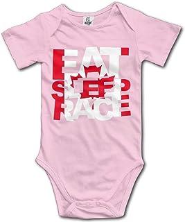 Unisex Baby's Eat Sleep Race Bodysuits Romper Short Sleeved Onesies
