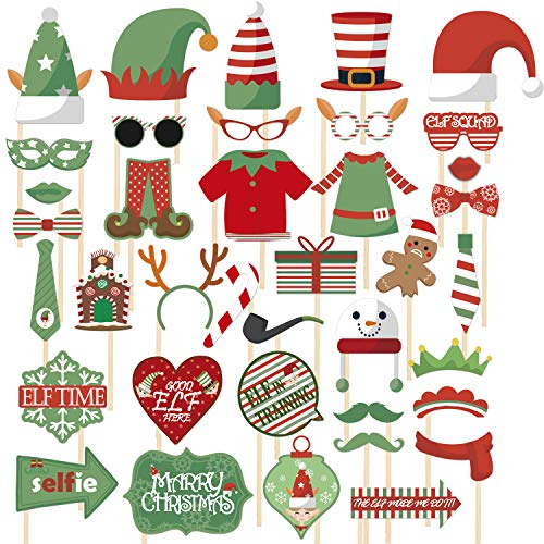 JoyTplay 3 stuks kerstself foto booth fotolijsten rode en groene kinderifen-foto-booth-rekwisieten voor Kerstmis, wintervakantie-partydecoraties