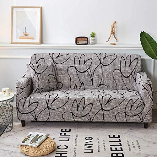 Funda de sofá Floral Envoltura elástica de algodón Fundas de sofá Antideslizantes con Todo Incluido para Sala de Estar Sofá de Esquina Toalla A20 2 plazas