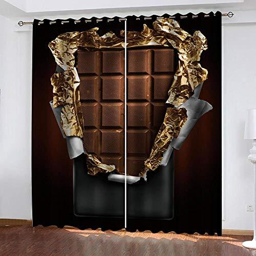 N / A Verdunkelungsvorhänge 3D Schokolade 3D Druck Schlafzimmer Verdunkelungsvorhänge Vorhang Studieren Wohnzimmer Moderne Wohnkultur 170Wx200H cm