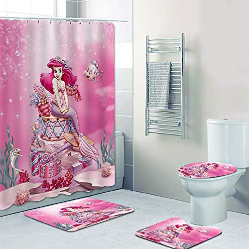 Fgolphd Duschvorhang DisneyMeerjungfrau Arielle 180x200180x180 Strand Bunt Badezimmerteppich 4-teiliges Set, Shower CurtainsWasserdicht (180 x 180 cm,4)