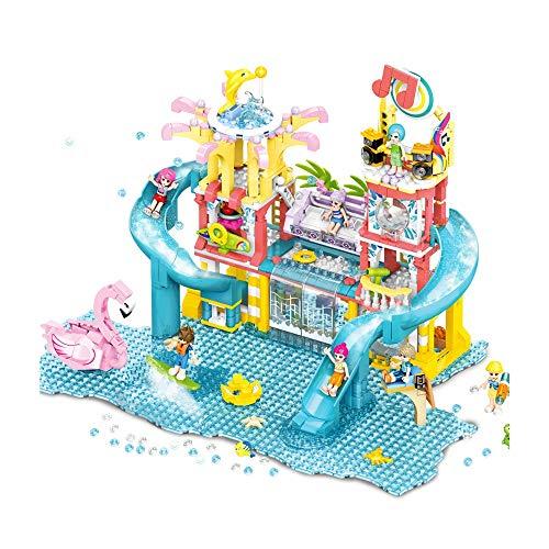 GFDFD Playa Camping RV Villa Parque acuático Bloque de construcción Casa de Nieve de Navidad Juguetes de Ladrillos de Dibujos Animados para niñas Juguetes para niños