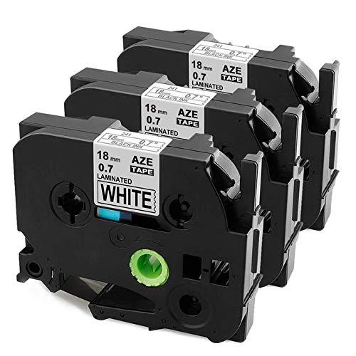 Anycolor Kompatible Schriftband als Ersatz für Brother TZe-241 18mm, P-touch 18mm TZ tape Schwarz auf Weiß für Brother P-Touch D400 D450 D600 PTE550W 1830 2730 7100 2100 2030 7600VP 2430, 3er-Pack