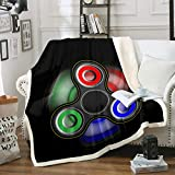 Cartoon Fidget Spinner Printed Sherpa Blanket Couch Sofa Chair Bed Black Microfiber Warmly Flannel Throw Ultra Soft Polyester Blanket Size(60inchx80inch)