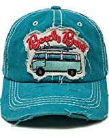 BH-203-BB46 Distressed Patch Baseball Cap: Beach Bum, Teal