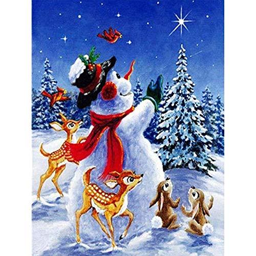 Lazodaer Kit de pintura de diamante redondo completo 5D Kit de pintura de diamantes de imitación para adultos y principiantes, bordado artes, decoración del hogar, muñeco de nieve, 30 x 39,9 cm