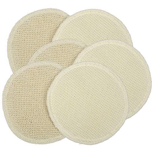 3 Paar Stilleinlagen Wolle Seide gestrickt 2-lagig rund 14cm - Schurwolle und Seide mit pflegenden Eigenschaften - ideal bei gereizten Brustwarzen - waschbar