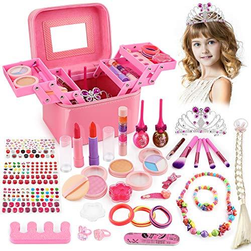 balnore Maquillage Enfant Jouet Fille, 34 Pcs Lavable Coffret De Maquillage Enfant Fille avec Boîte de Maquillage Cadeau Parfait pour Enfants 3 Ans