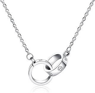 Double Love Loop Titanium Steel Women's Pendant Necklace Silver Tone 1.4 cm